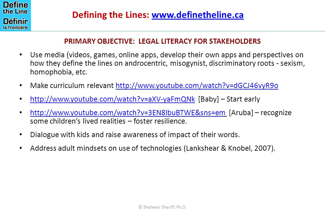 Defining the Lines: www.definetheline.ca