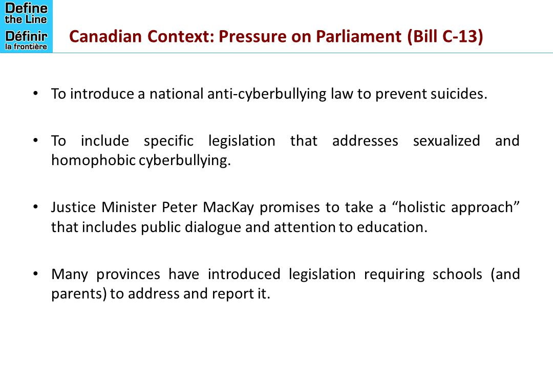 Canadian Context: Pressure on Parliament (Bill C-13)