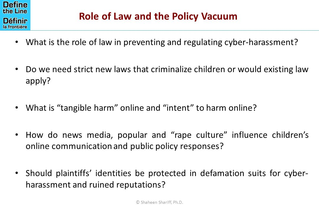 Role of Law and the Policy Vacuum