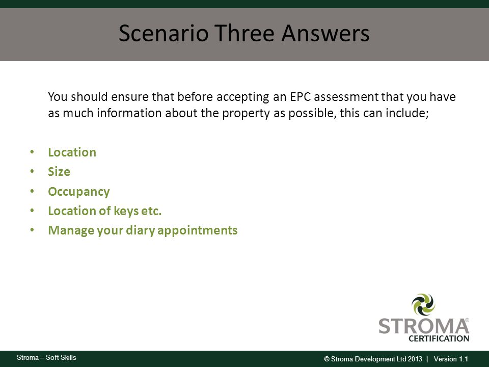 Scenario Three Answers