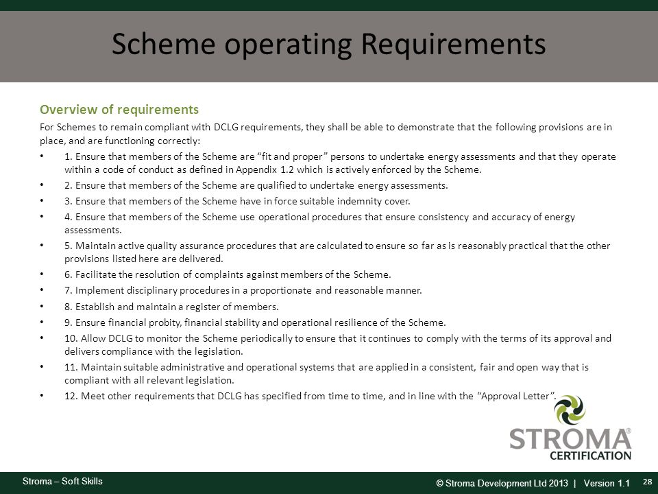 Scheme operating Requirements