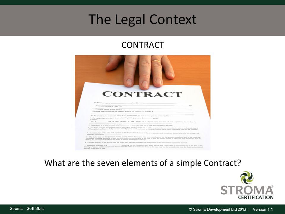CONTRACT What are the seven elements of a simple Contract