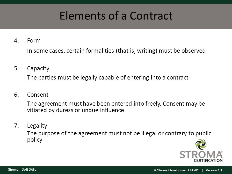 Elements of a Contract Form. In some cases, certain formalities (that is, writing) must be observed.
