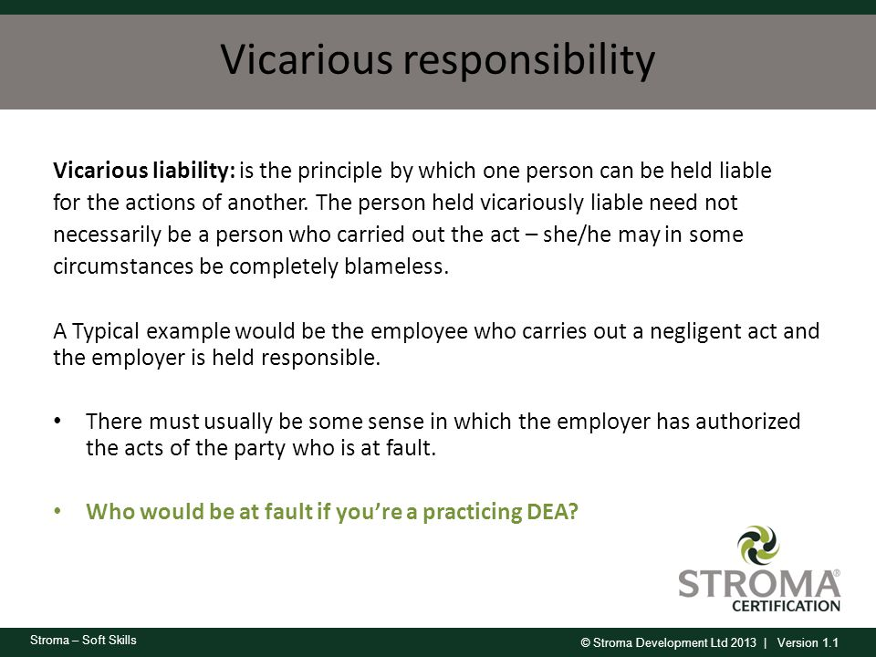 Vicarious responsibility
