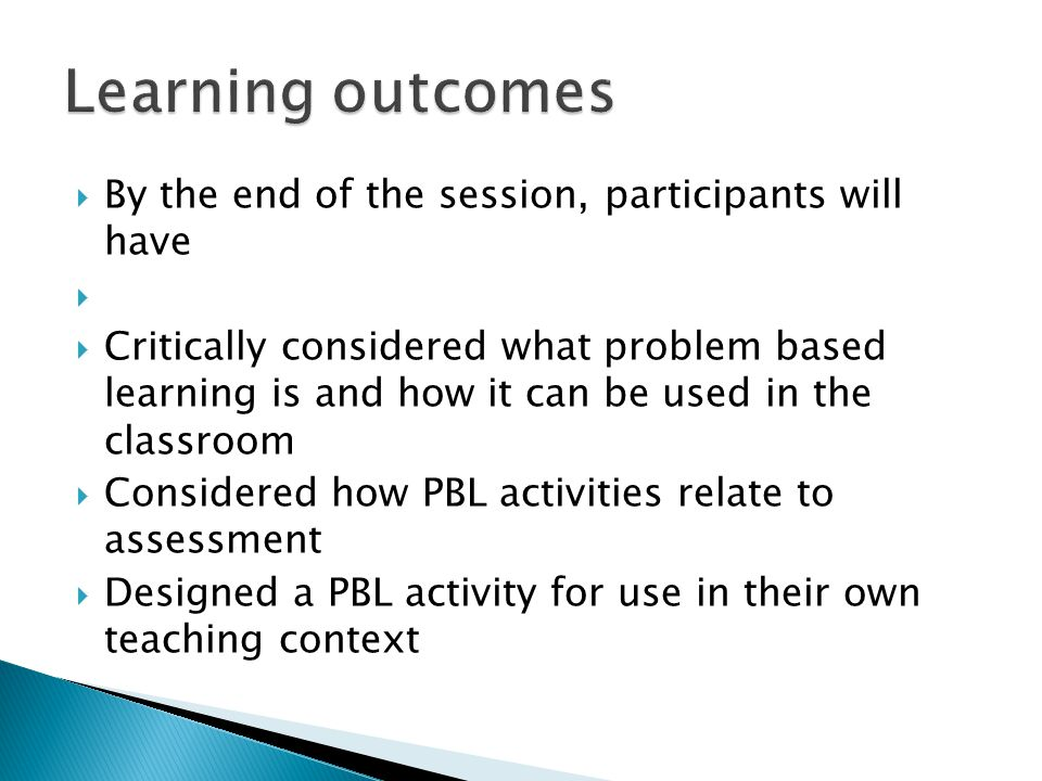 Learning outcomes By the end of the session, participants will have