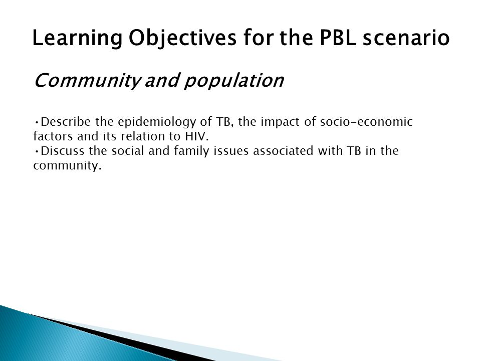 Learning Objectives for the PBL scenario