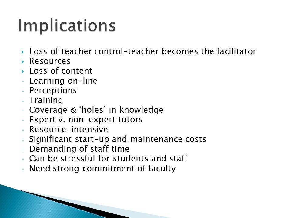 Implications Loss of teacher control-teacher becomes the facilitator