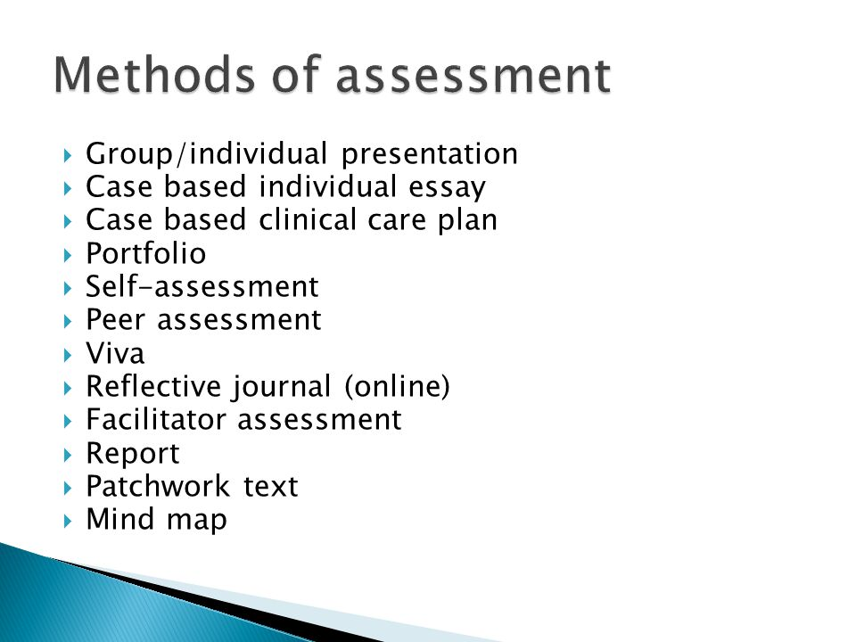 Methods of assessment Group/individual presentation