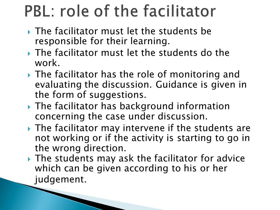 PBL: role of the facilitator