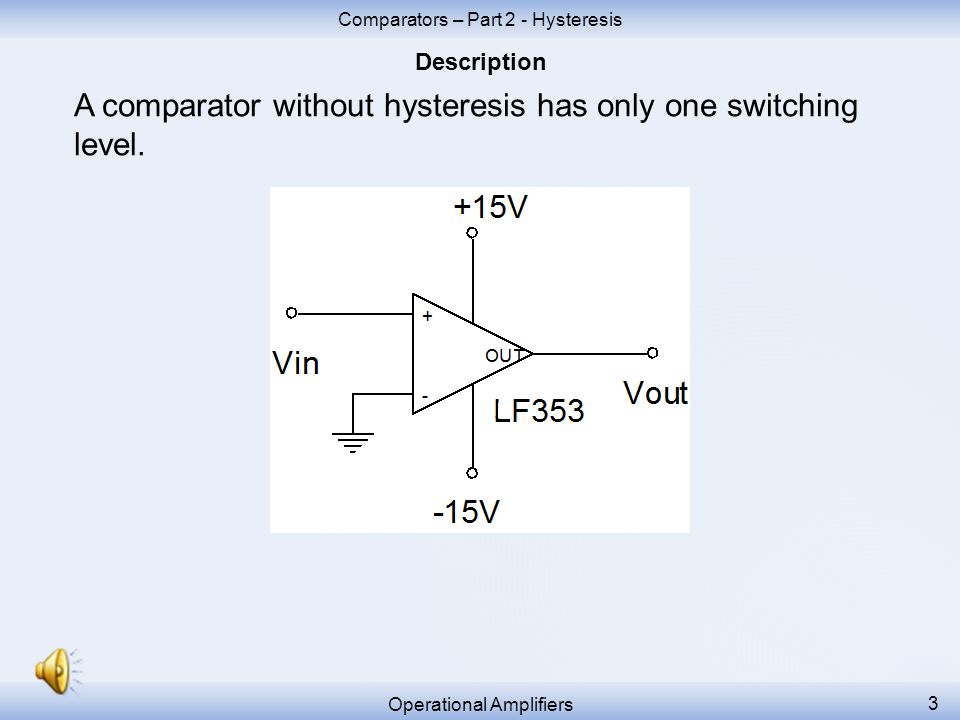 A comparator without hysteresis has only one switching level.