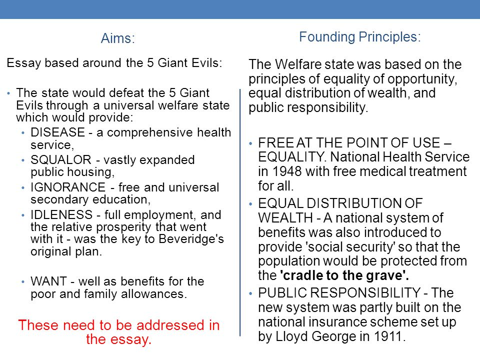aims founding principles of the welfare state ppt  these need to be addressed in the essay