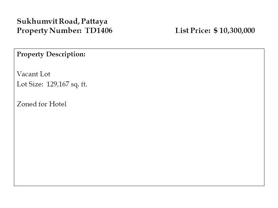 Sukhumvit Road, Pattaya Property Number: TD1406