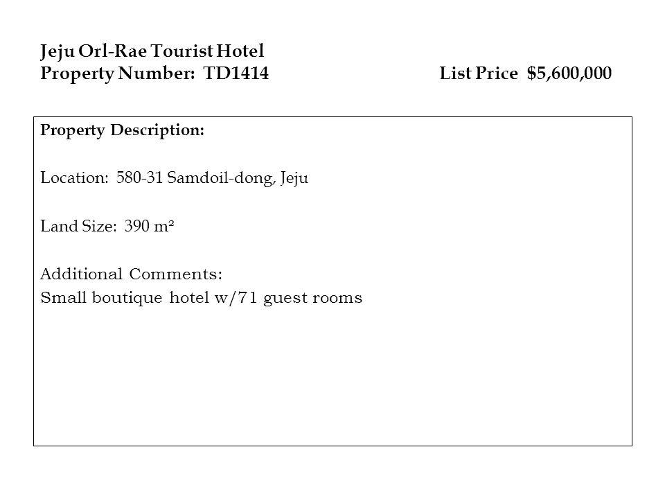 Jeju Orl-Rae Tourist Hotel Property Number: TD1414