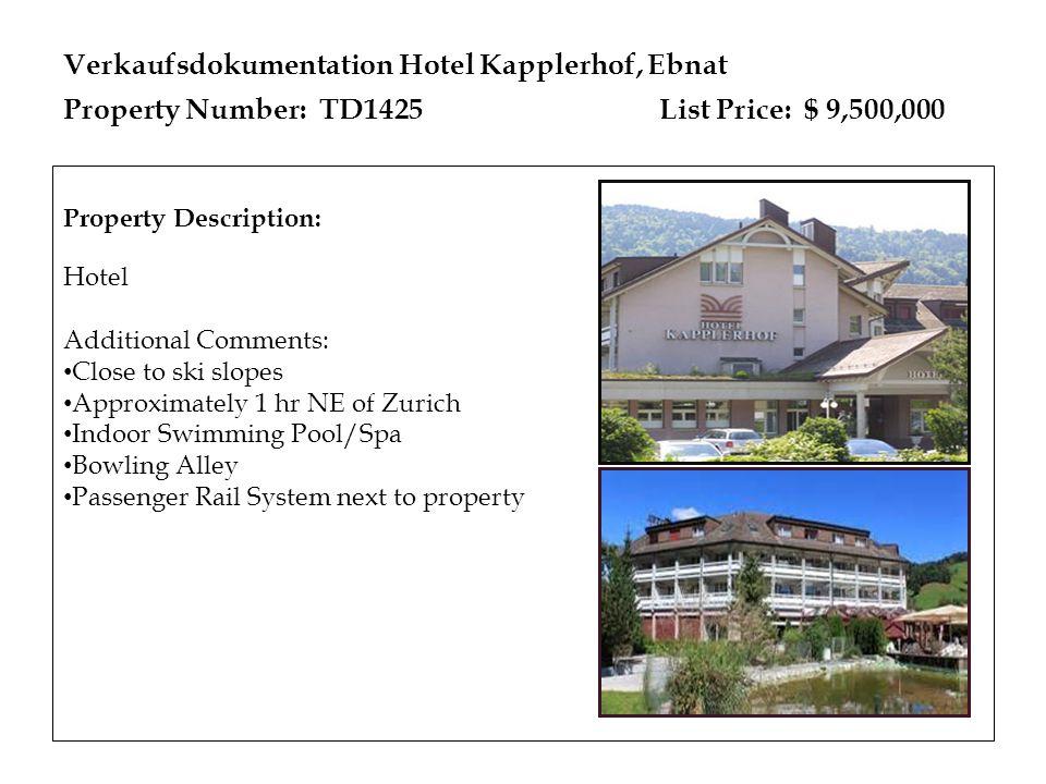 Verkaufsdokumentation Hotel Kapplerhof, Ebnat Property Number: TD1425