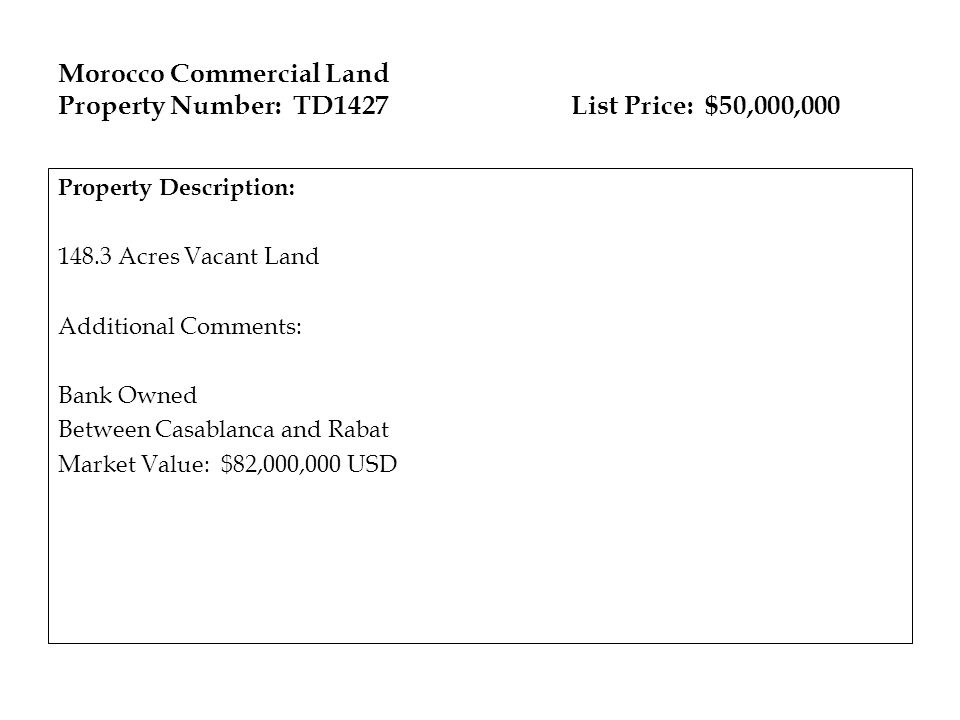 Morocco Commercial Land Property Number: TD1427