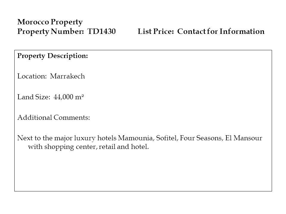 Morocco Property Property Number: TD1430
