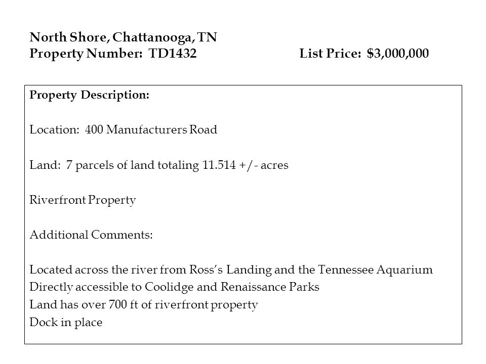 North Shore, Chattanooga, TN Property Number: TD1432