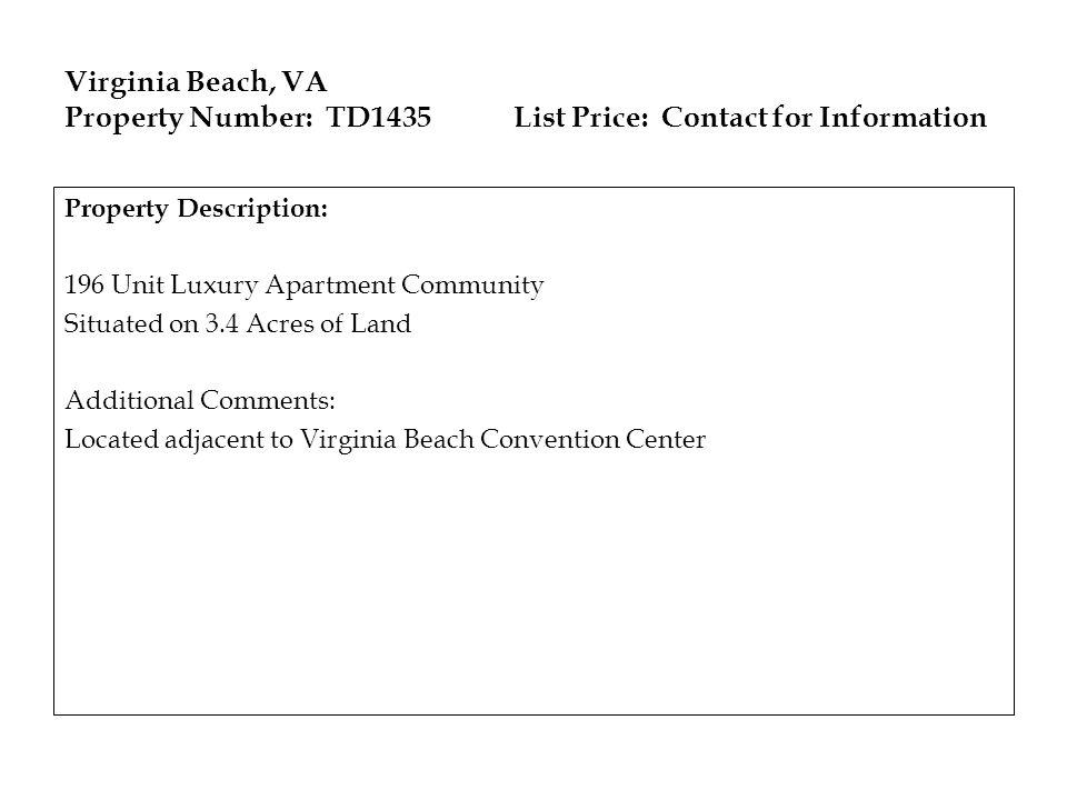 Virginia Beach, VA Property Number: TD1435