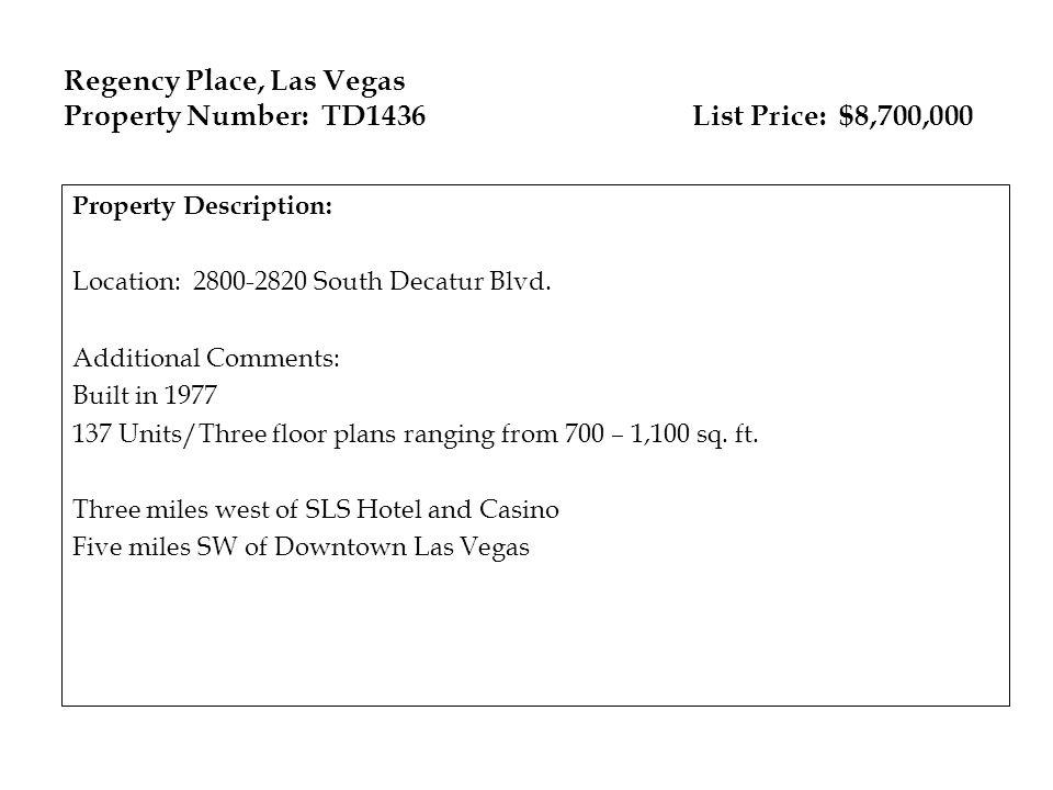 Regency Place, Las Vegas Property Number: TD1436