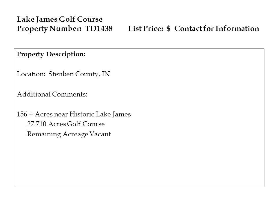 Lake James Golf Course Property Number: TD1438