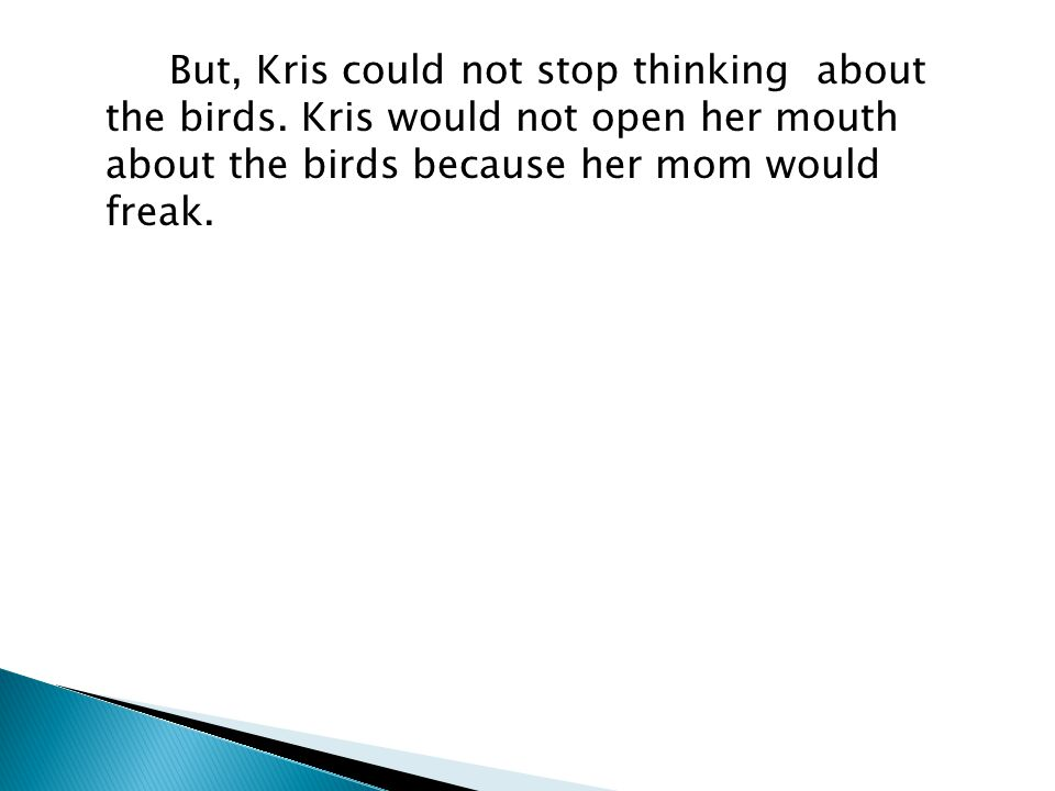 But, Kris could not stop thinking about the birds