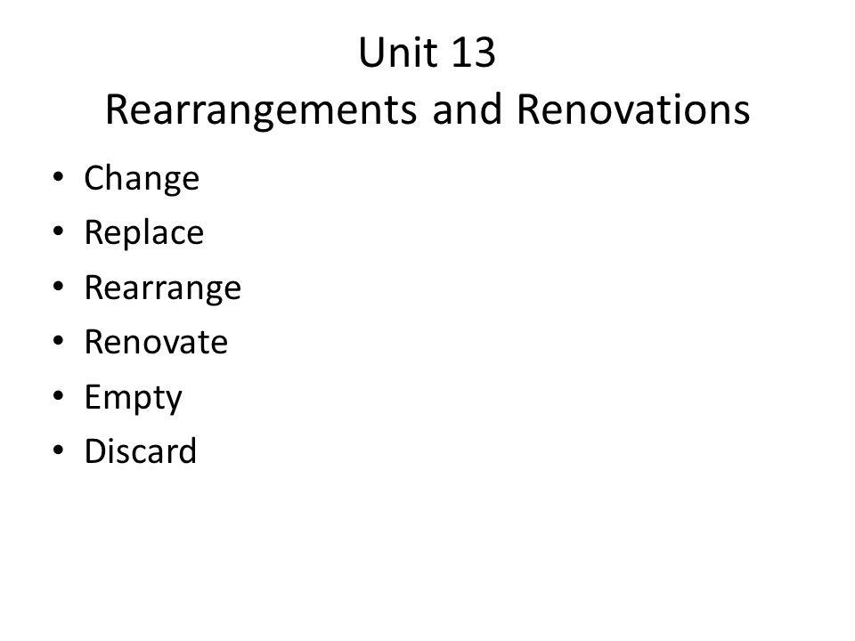 Unit 13 Rearrangements and Renovations