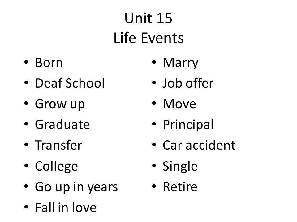 Unit 15 Life Events Born Marry Deaf School Job offer Grow up Move