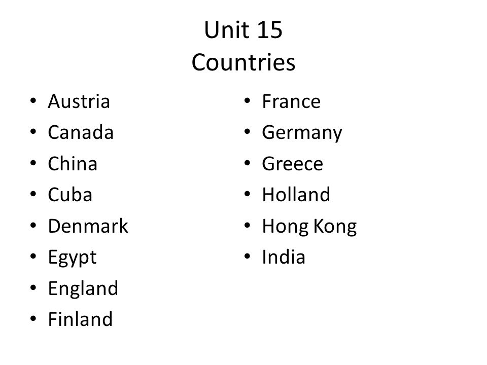 Unit 15 Countries Austria France Canada Germany China Greece Cuba