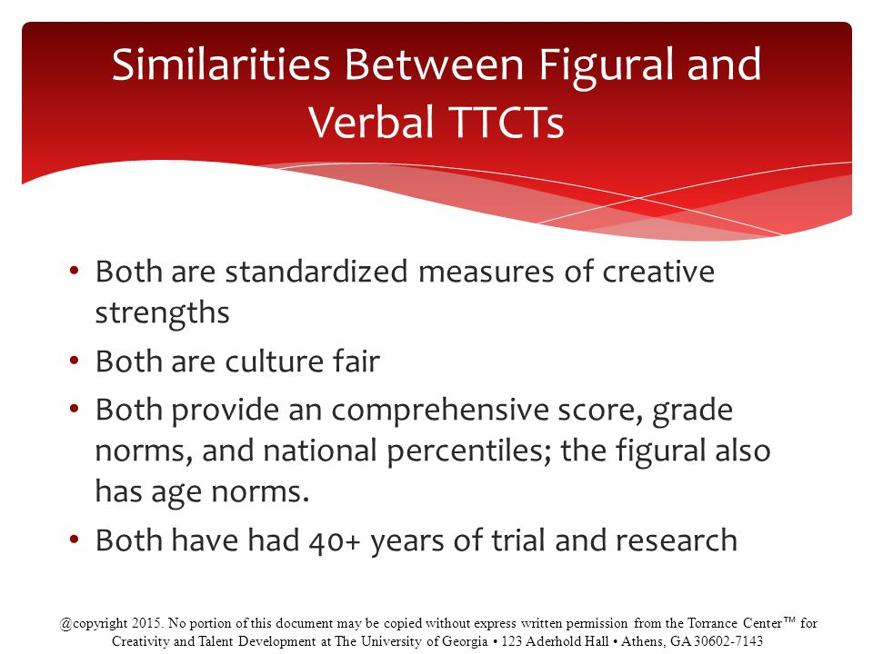 Similarities Between Figural and Verbal TTCTs