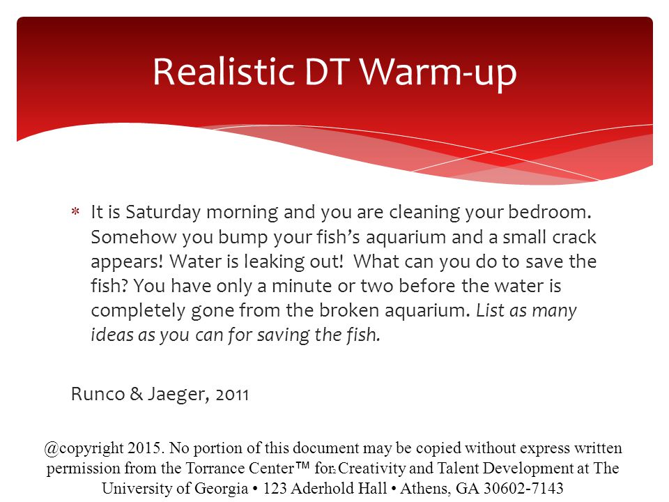 Realistic DT Warm-up