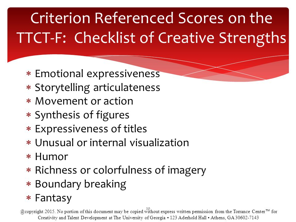 Criterion Referenced Scores on the TTCT-F: Checklist of Creative Strengths