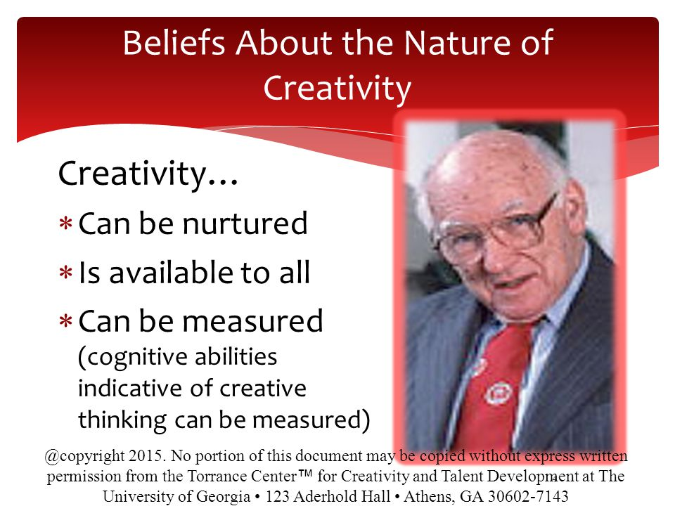 Beliefs About the Nature of Creativity
