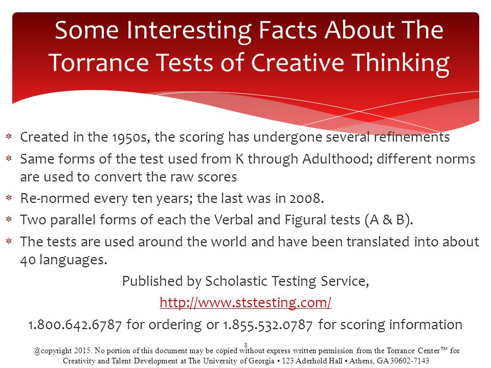 Some Interesting Facts About The Torrance Tests of Creative Thinking