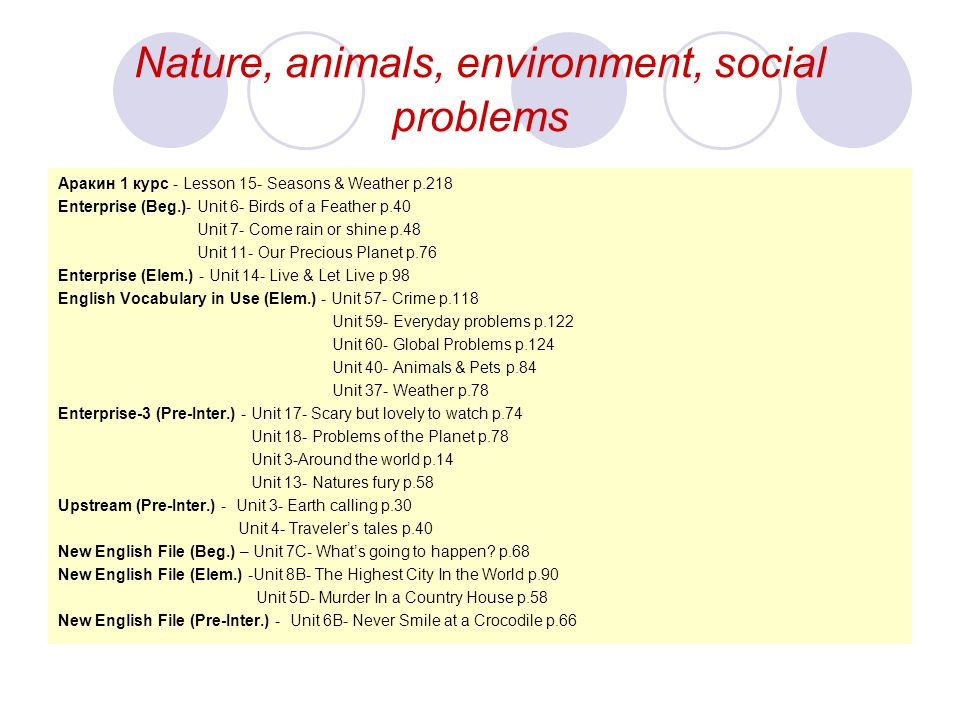 Nature, animals, environment, social problems