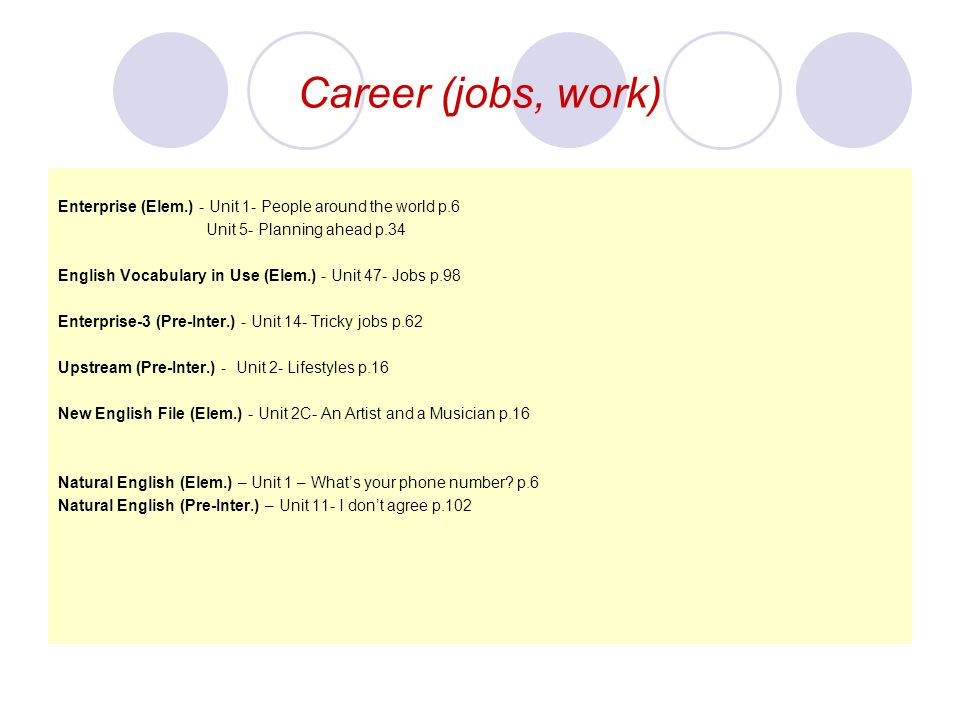 Career (jobs, work) Enterprise (Elem.) - Unit 1- People around the world p.6. Unit 5- Planning ahead p.34.