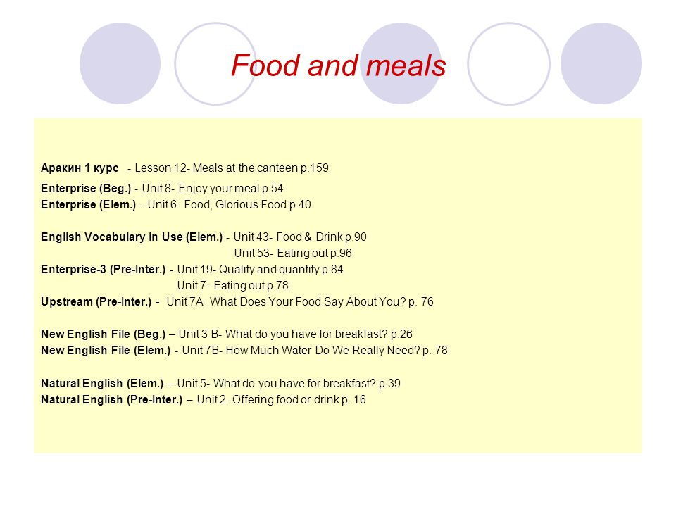 Food and meals Aракин 1 курс - Lesson 12- Meals at the canteen p.159