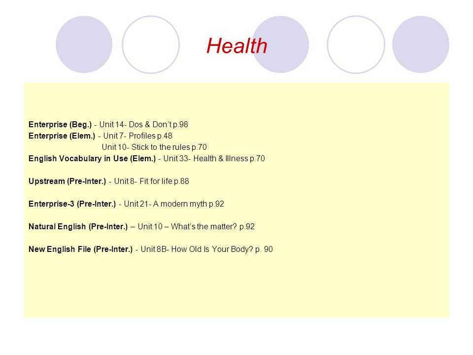 Health Enterprise (Beg.) - Unit 14- Dos & Don't p.98