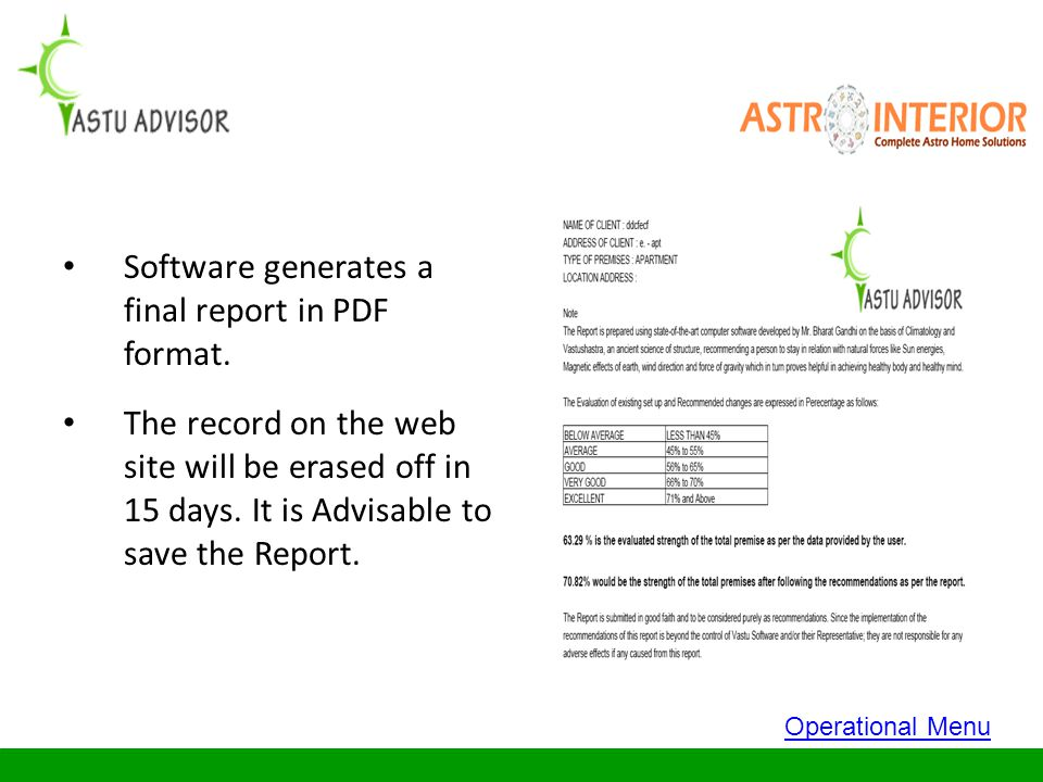 Software generates a final report in PDF format.