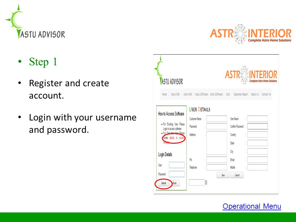 Step 1 Register and create account.