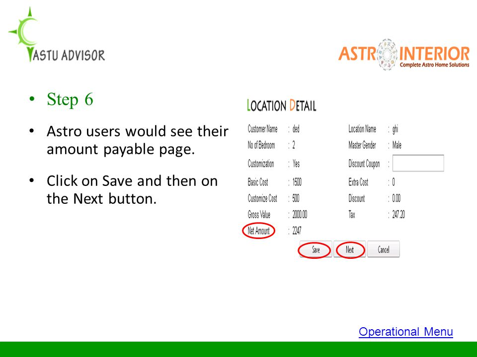 Step 6 Astro users would see their amount payable page.