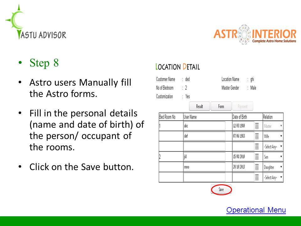 Step 8 Astro users Manually fill the Astro forms.
