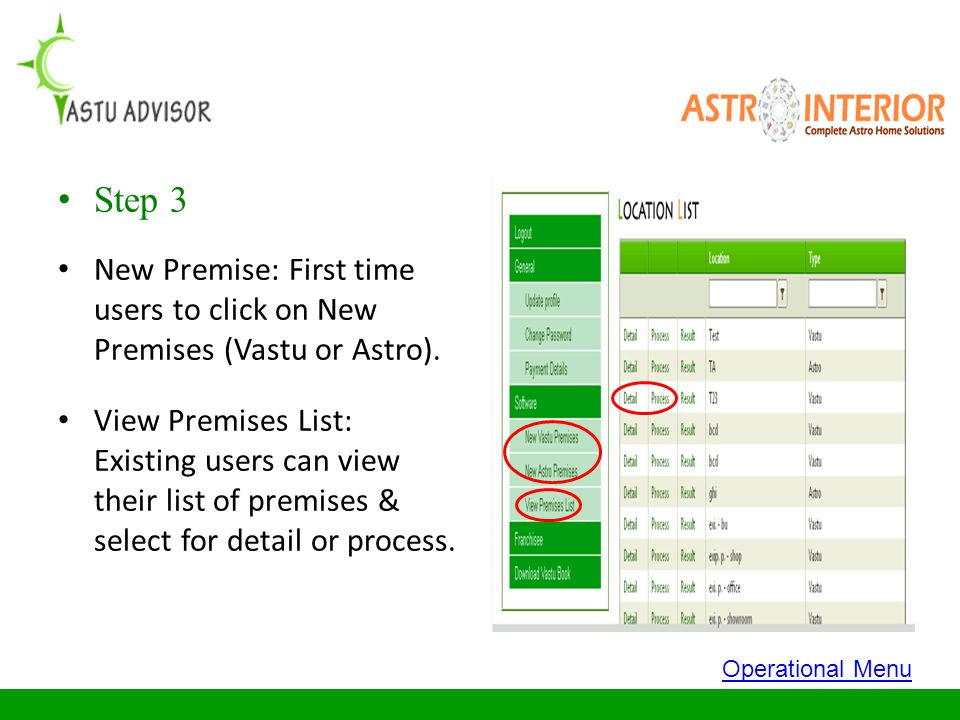 Step 3 New Premise: First time users to click on New Premises (Vastu or Astro).