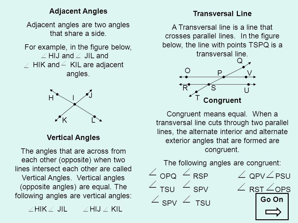 Adjacent Angles Transversal Line Congruent Vertical Angles Go On