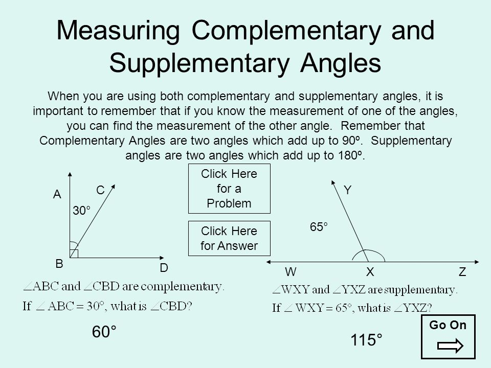 Measuring Complementary and Supplementary Angles