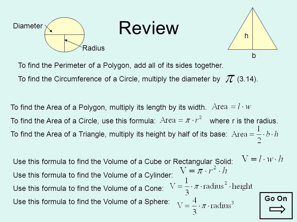 Review Diameter h Radius b