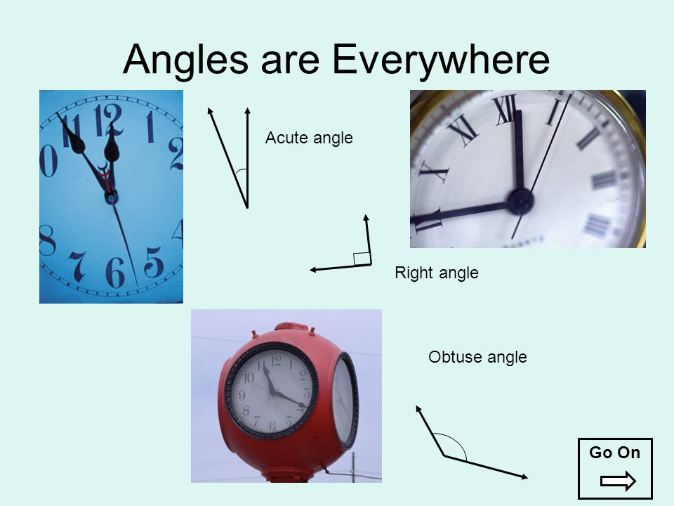 Angles are Everywhere Acute angle Right angle Obtuse angle Go On