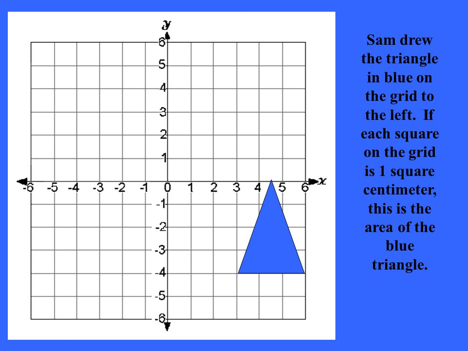 Sam drew the triangle in blue on the grid to the left