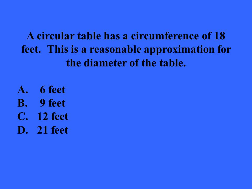 A circular table has a circumference of 18 feet
