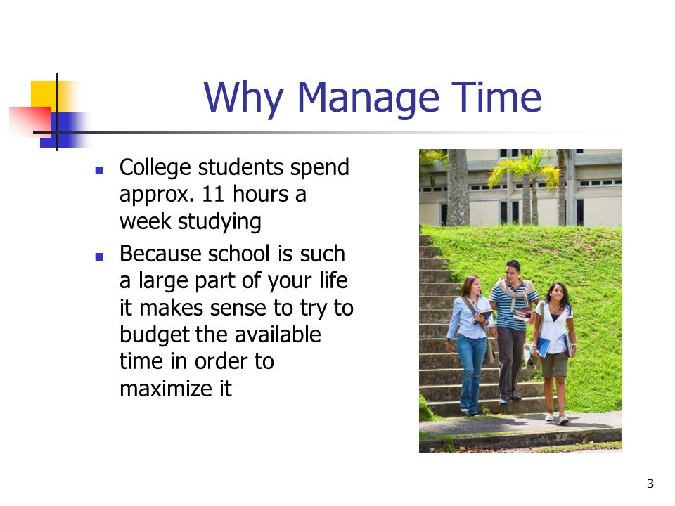 Why Manage Time College students spend approx. 11 hours a week studying.