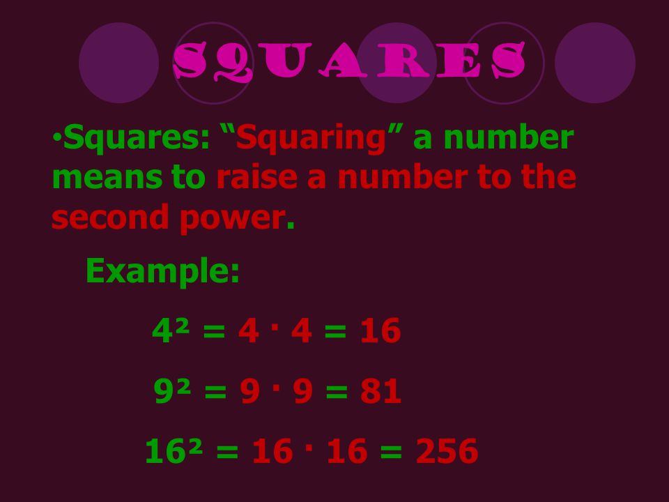 Squares Squares: Squaring a number means to raise a number to the second power. Example: 4² = 4 · 4 = 16.